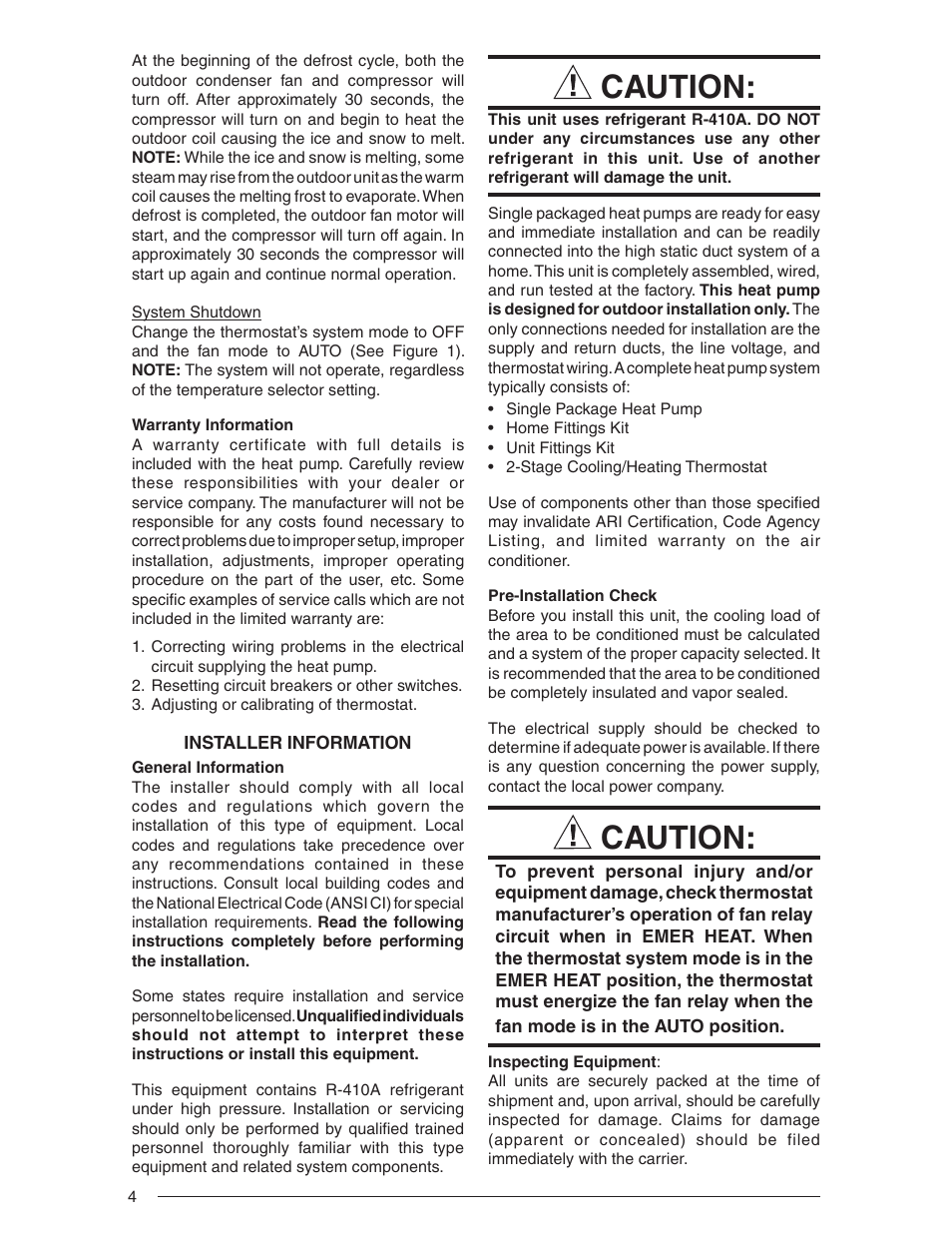 Caution | Nordyne Single Package Heat Pump R-410A User Manual | Page