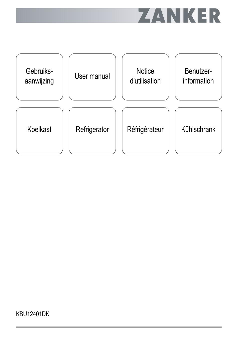 ZANKER KBU 12401 DK User Manual | 48 pages