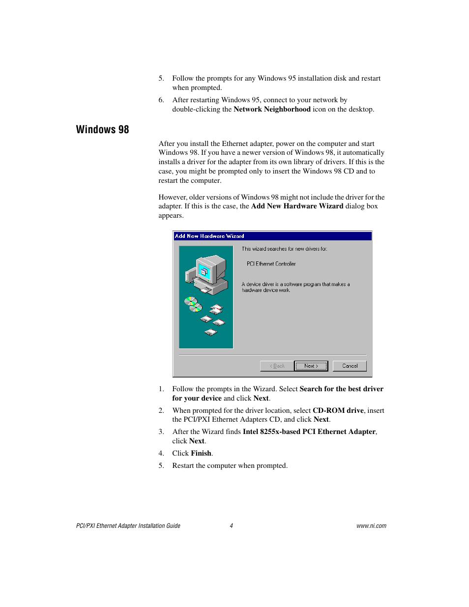 Windows 98 | National Instruments NI-488TM User Manual | Page 4 / 12