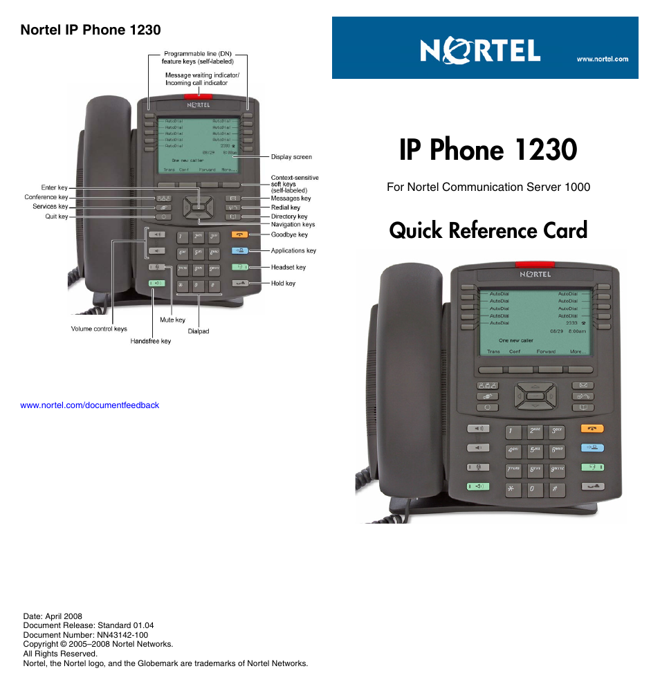 Ip phone 1230, Quick reference card | Nortel Networks 1230