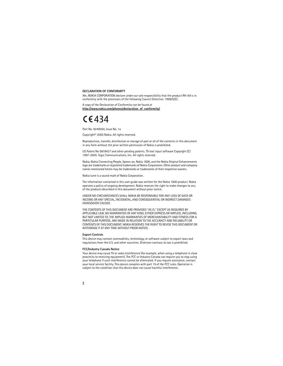 Nokia 1600 User Manual | Page 3 / 89