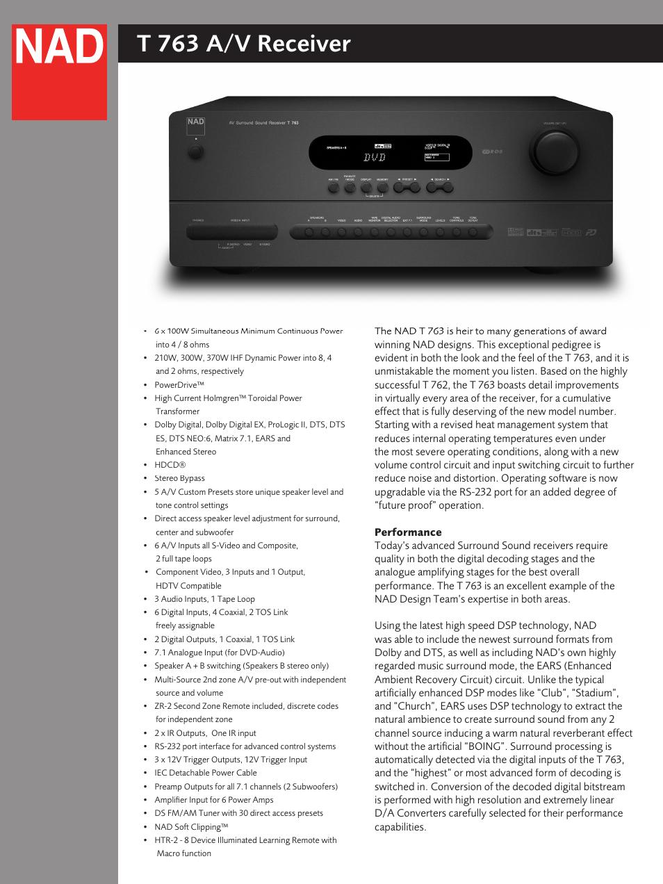 nad t 763 user manual 4 pages rh manualsdir com nad t762 manual nad t763 user manual