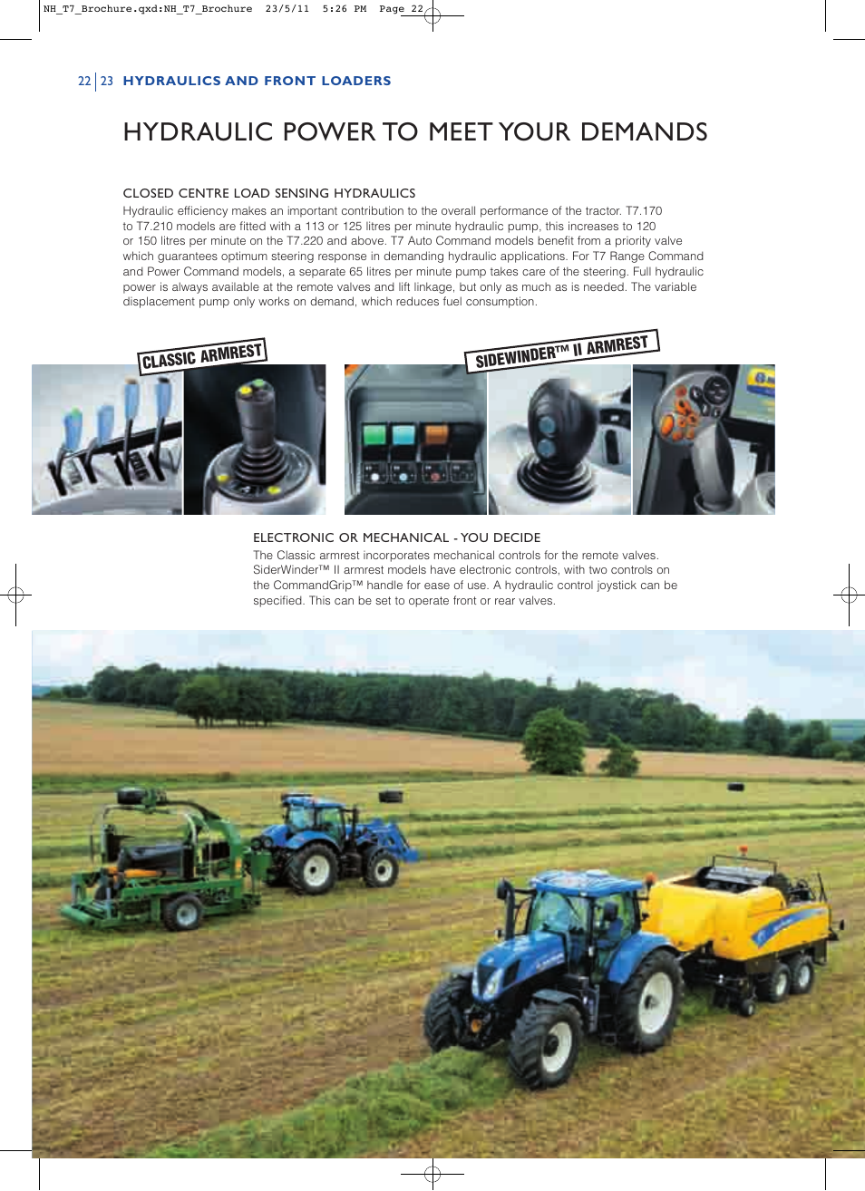 Hydraulic power to meet your demands | New Holland T7.235 User Manual |  Page 22 / 28