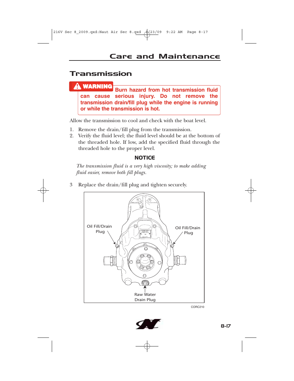 Transmission, Care and maintenance   Nautique Crossover