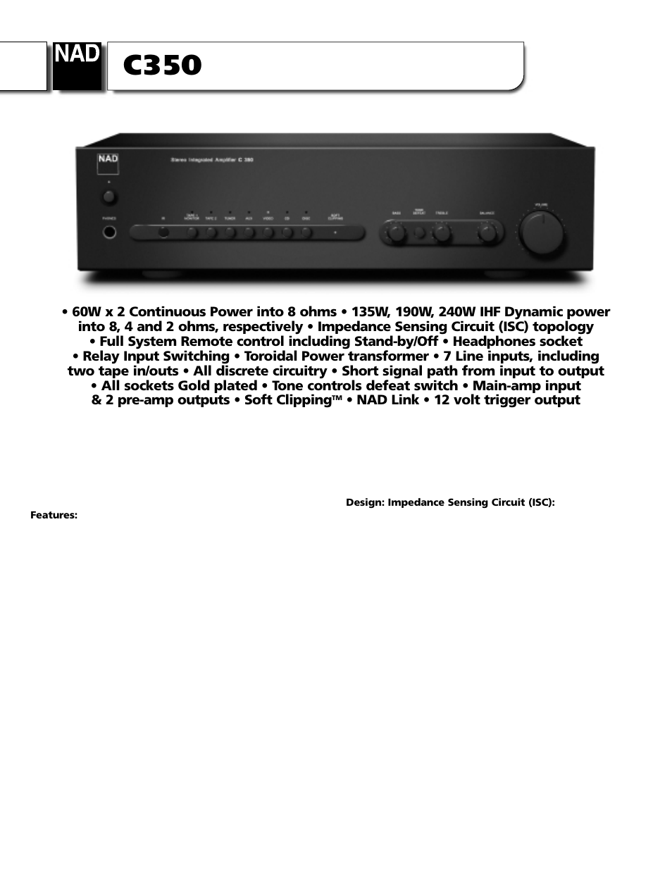 Nad C350 User Manual 2 Pages Inserting A Tone Control Between Preamp And Power Amp