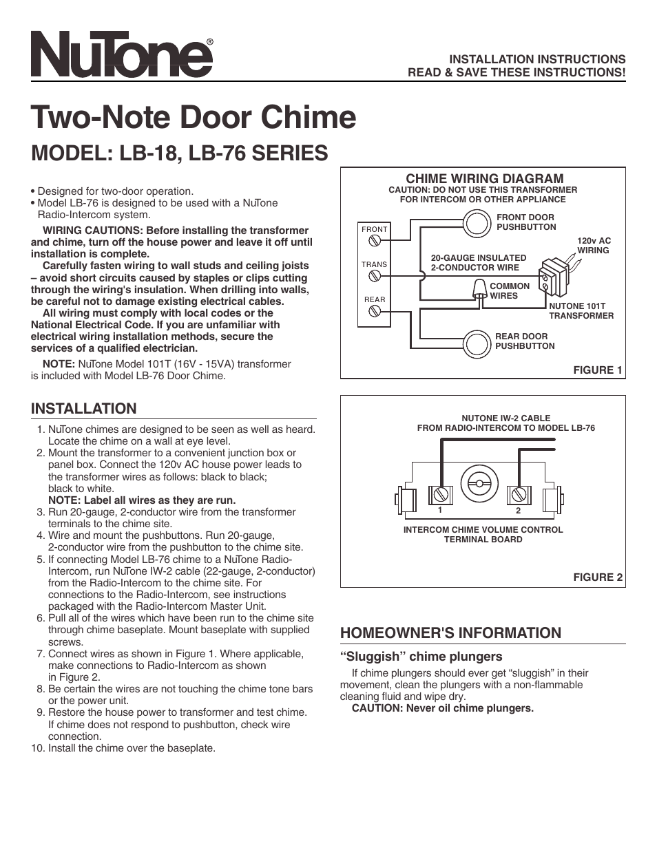 NuTone TWO-NOTE DOOR CHIME LB-76 User Manual | 2 pages | Also for: TWO-NOTE  DOOR CHIME LB-18