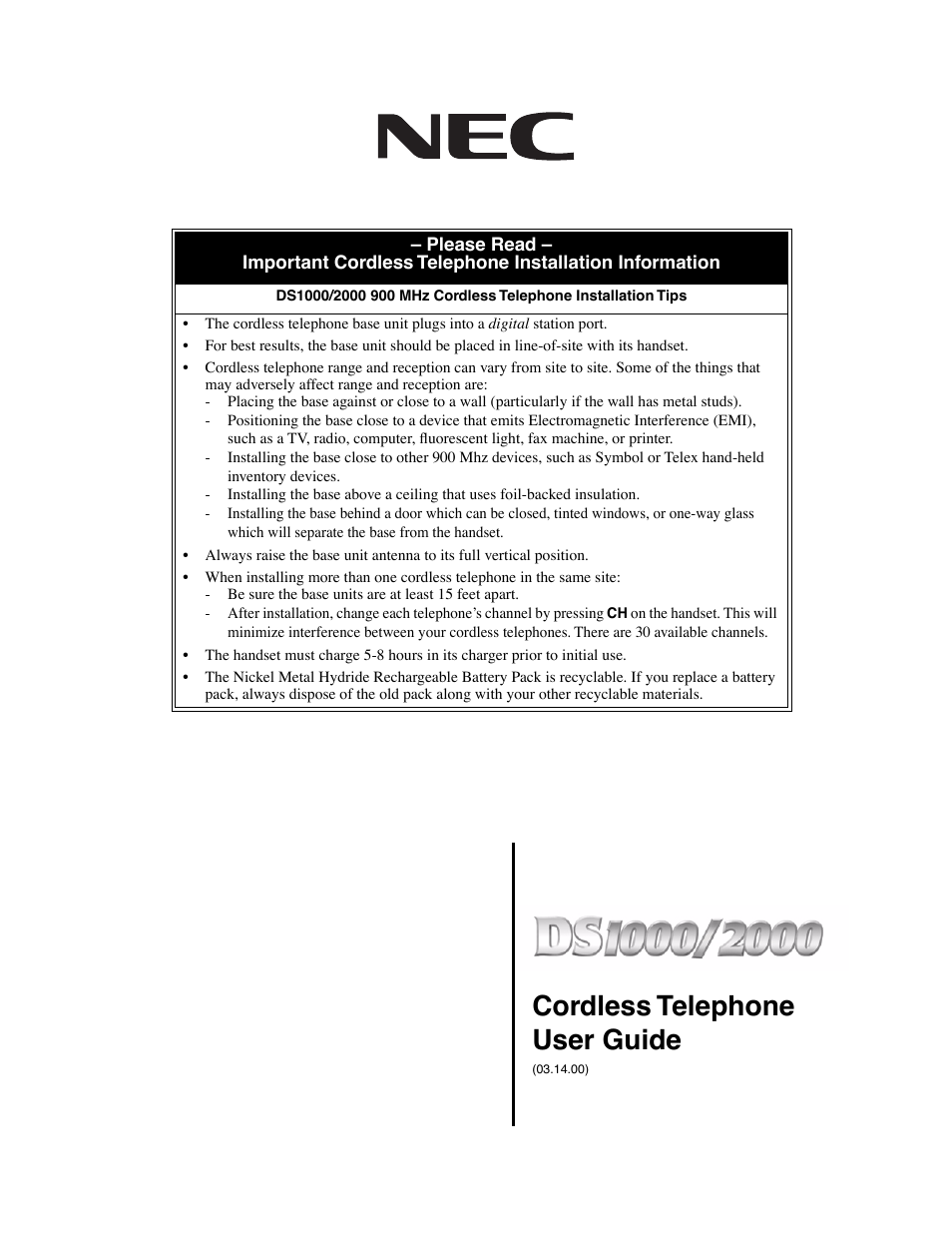nec ds1000 2000 user manual 48 pages rh manualsdir com Quick Start Guide NEC DS1000 2000 Telephone Multi-Button