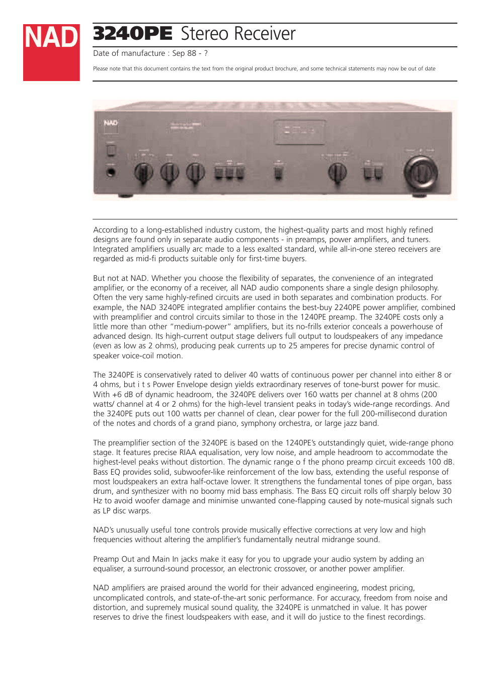 Inserting A Tone Control Between Preamp And Power Amp Nad 3240pe User Manual 2 Pages
