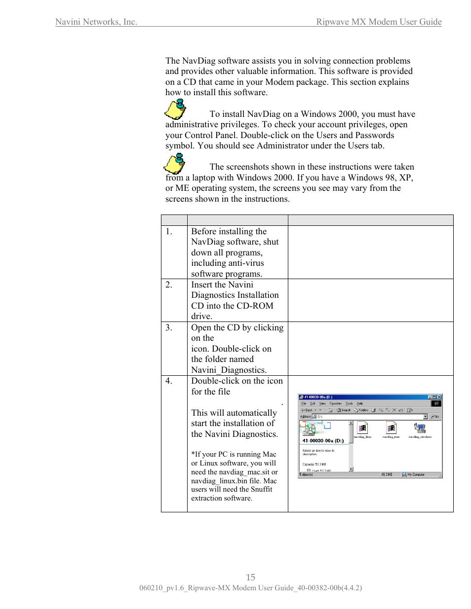 Installing navi diagnosti ni cs navdiag) | Navini Networks Ripwave