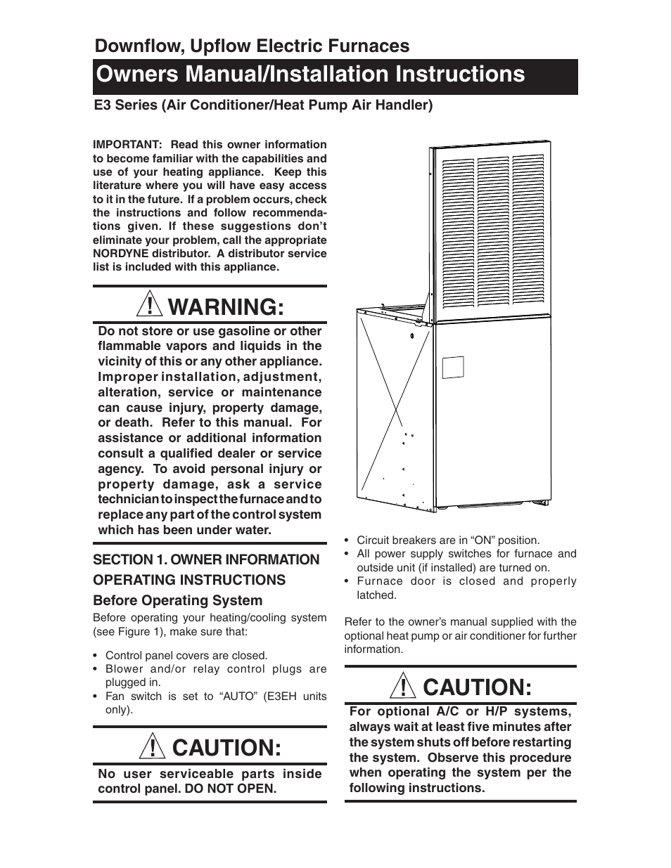 Nordyne E3 Series User Manual 32 Pages Also For E3eh E3eb E3ex Heat Pump Air Handler Diagram