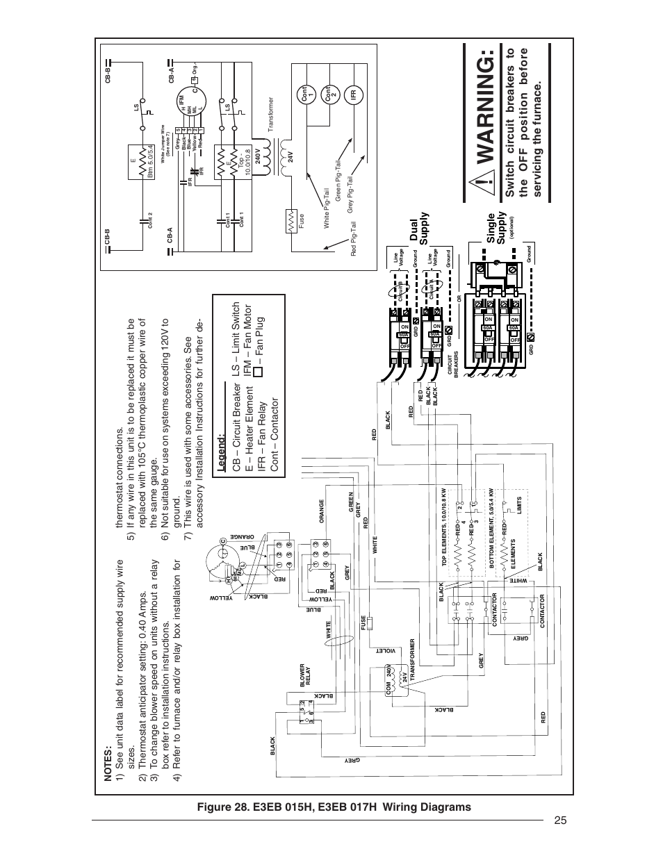 Wiring Diagram For Mobile Home Furnace : Warning single suppl y dual nordyne e series