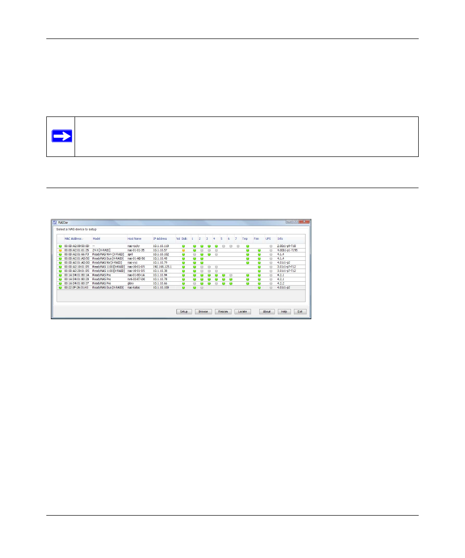 Default ip address, login name, and password, The raidar