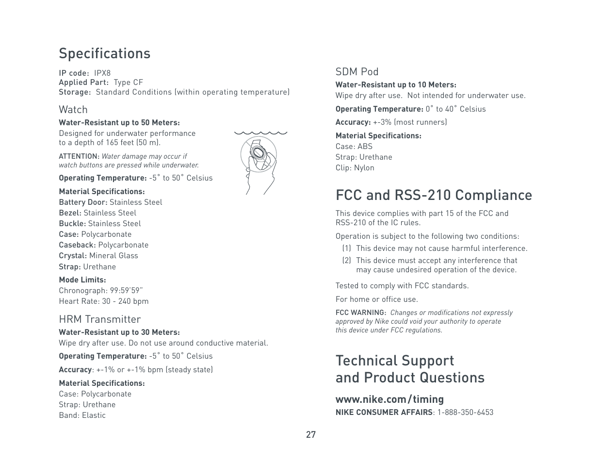 Specifications, Fcc and rss-210 compliance, Technical support and