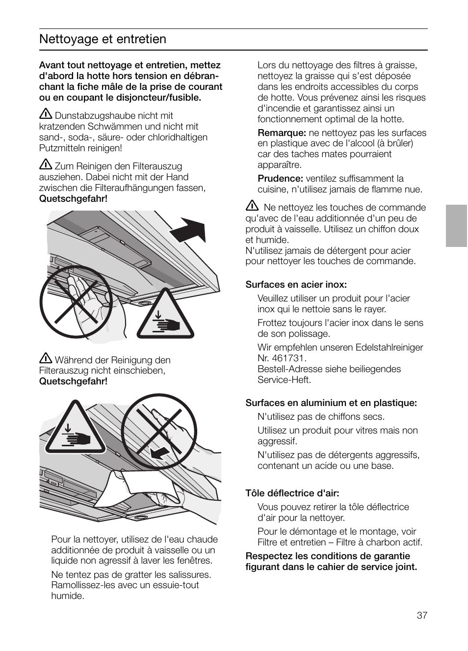 Nettoyage Et Entretien Siemens Lc 957 Aa 70 User Manual Page 37