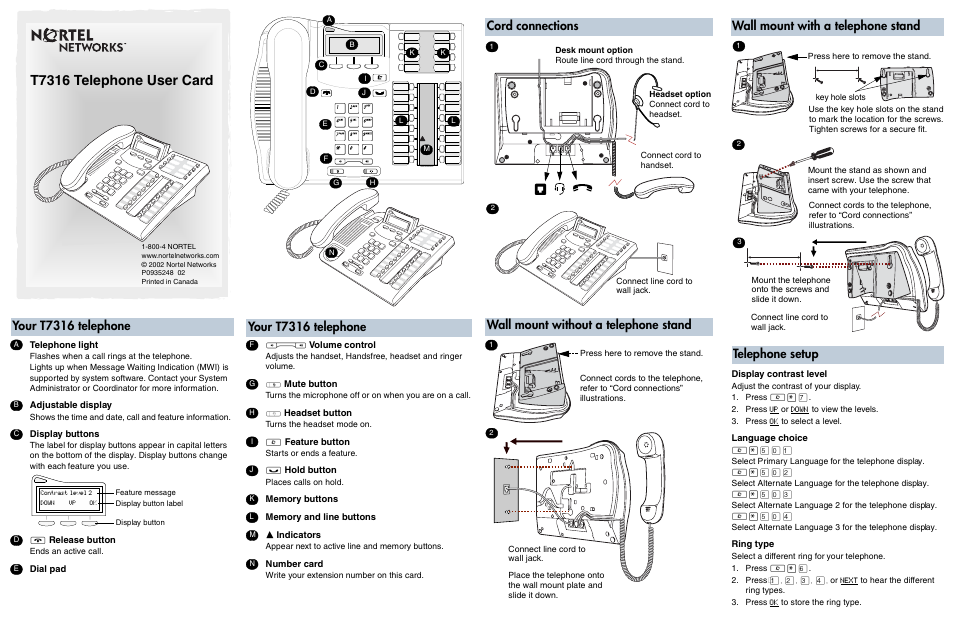 nortel networks t7316 user manual 2 pages rh manualsdir com nortel networks phone manual 1140e nortel networks phone manual t7316e