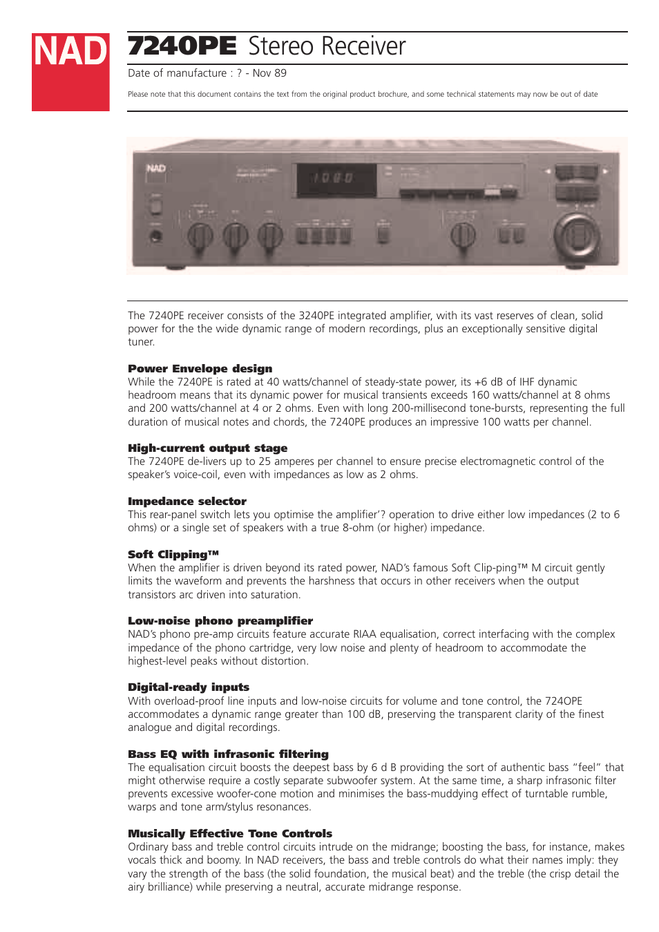Nad 7240pe User Manual 4 Pages Noise Filter For Stereo System