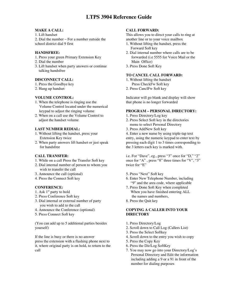 Ltps 3904 reference guide | Nortel Networks 3904 User Manual