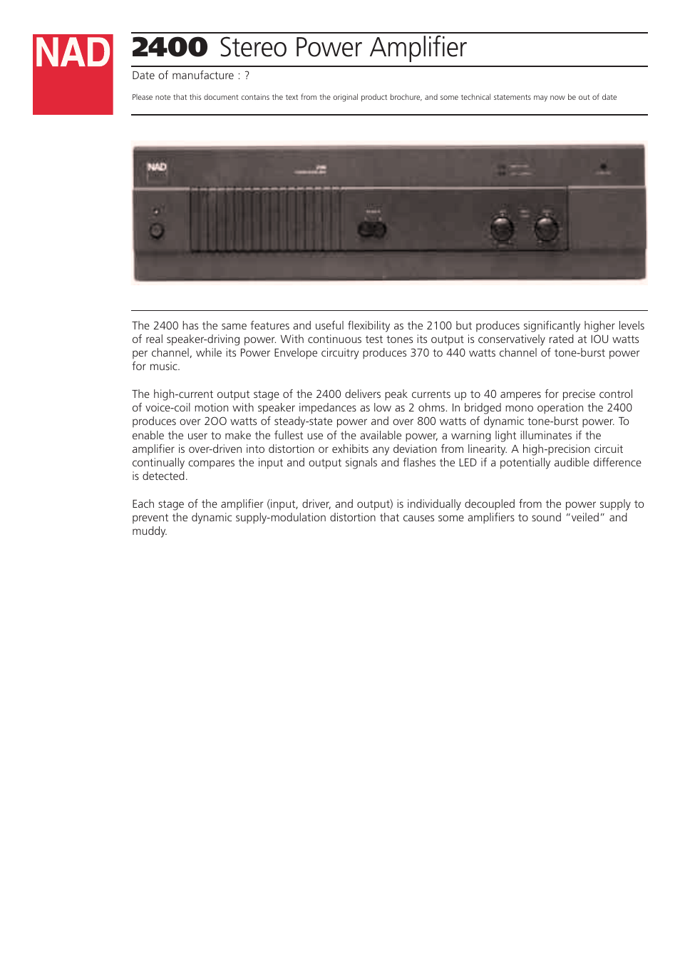 NAD 2400 User Manual | 2 pages