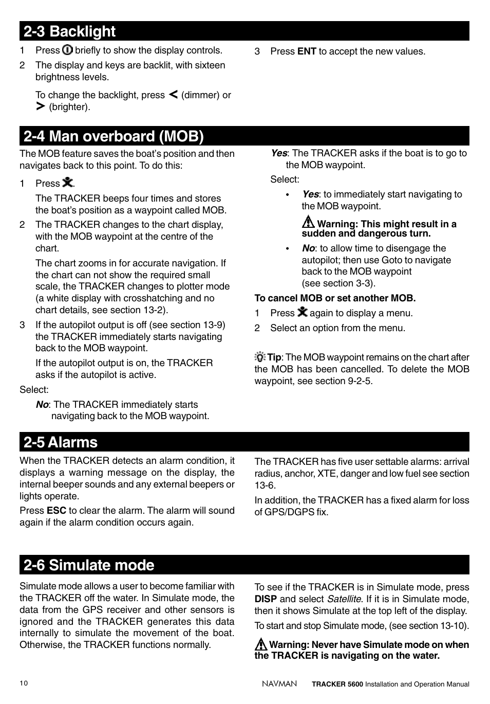 6 simulate mode, 5 alarms, 4 man overboard (mob) | Navman tracker plotter  TRACKER 5600 User Manual | Page 10 / 42