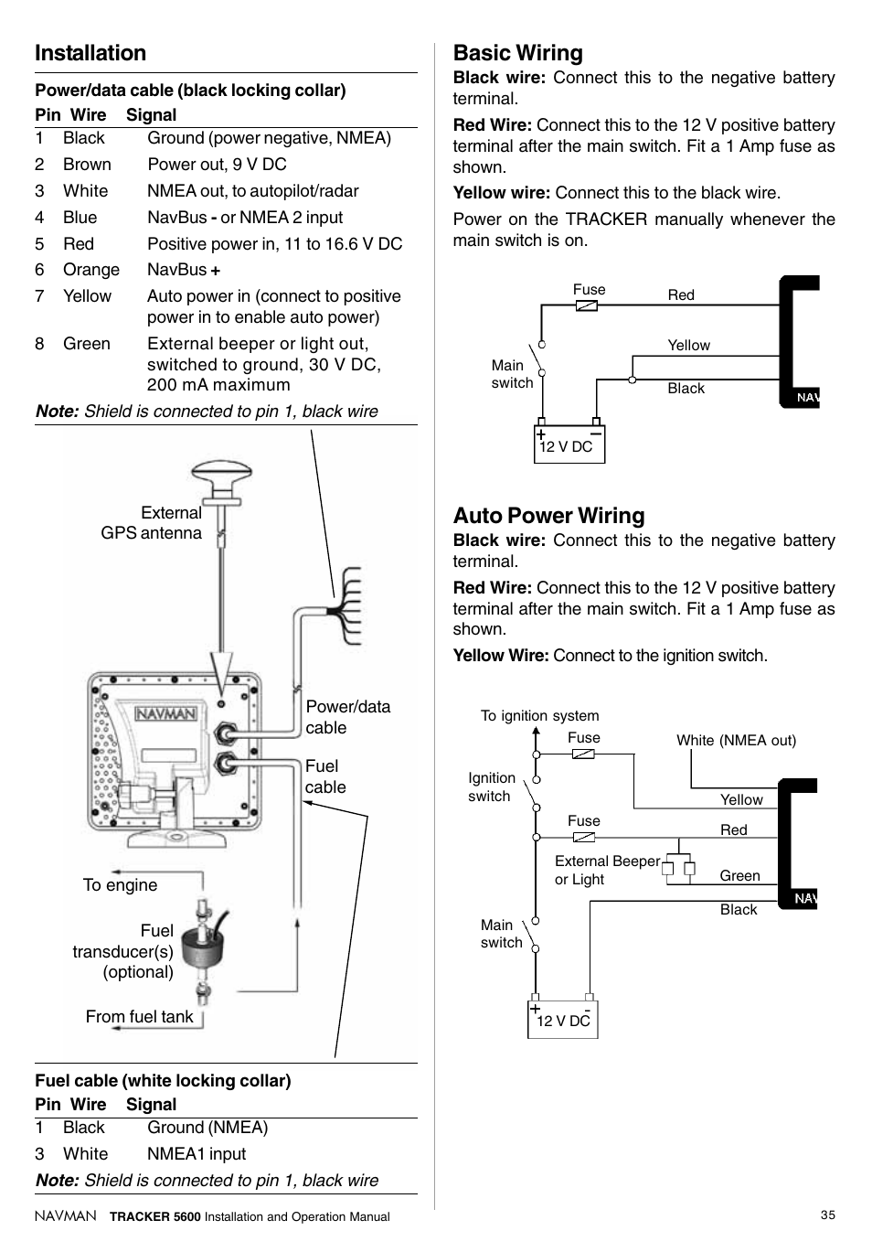 Installation Auto Power Wiring Basic Navman Tracker Electrical Light Switch Red Wire Plotter 5600 User Manual Page 35 42
