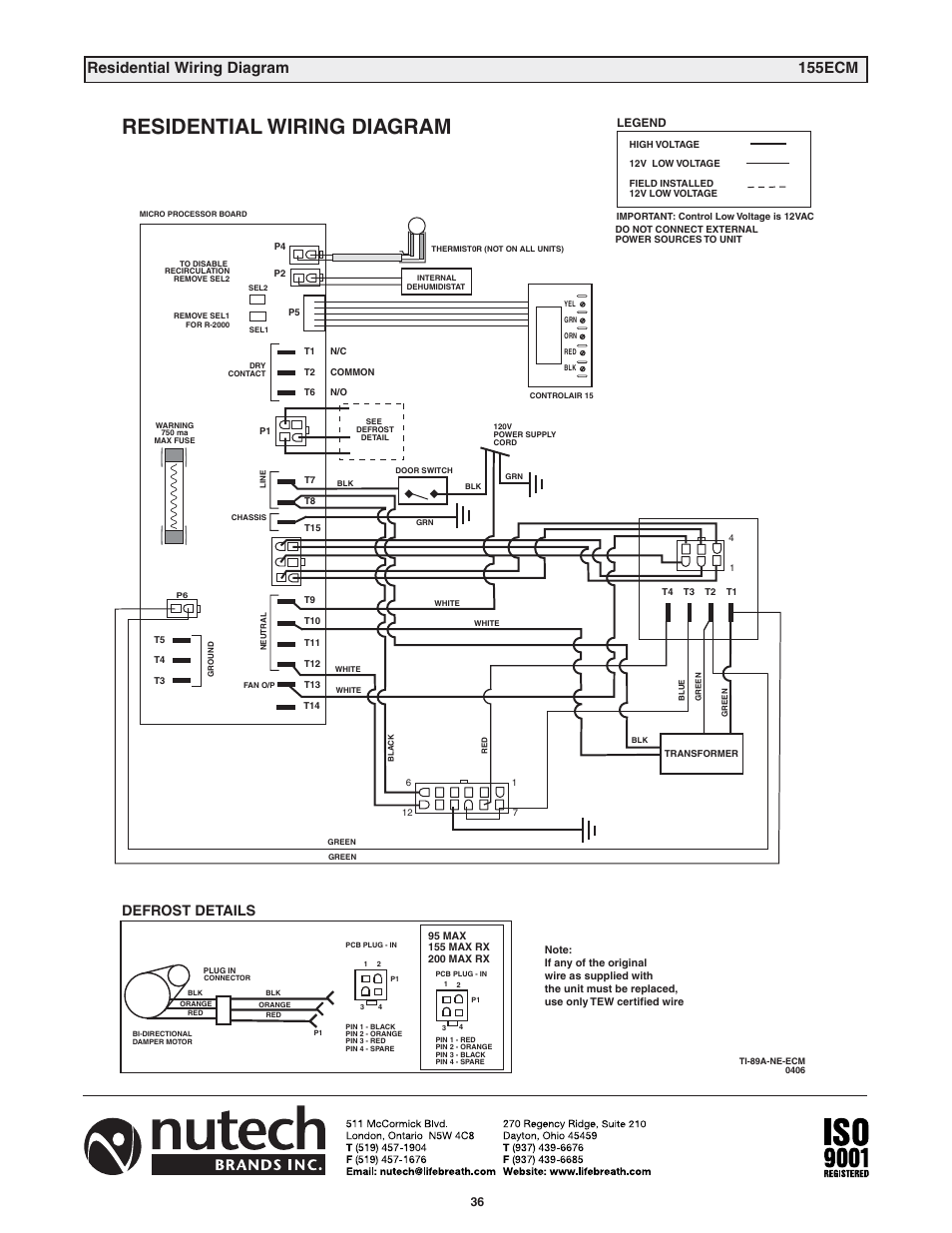 Residential Wiring Diagram 155ecm Damper Motor Defrost Details Lifebreath 200max Rx En User Manual Page 36