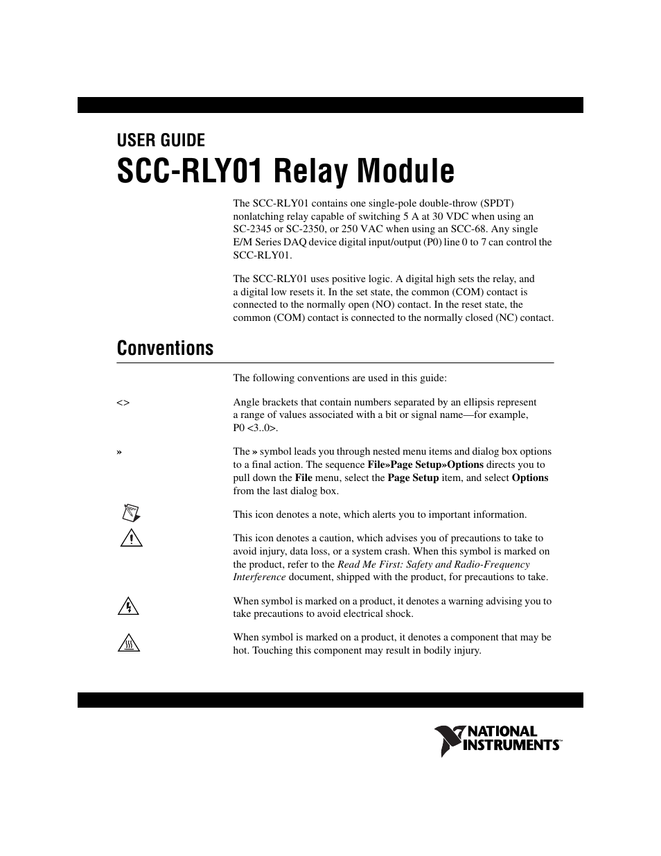 National Instruments Relay Module Scc Rly01 User Manual 9 Pages