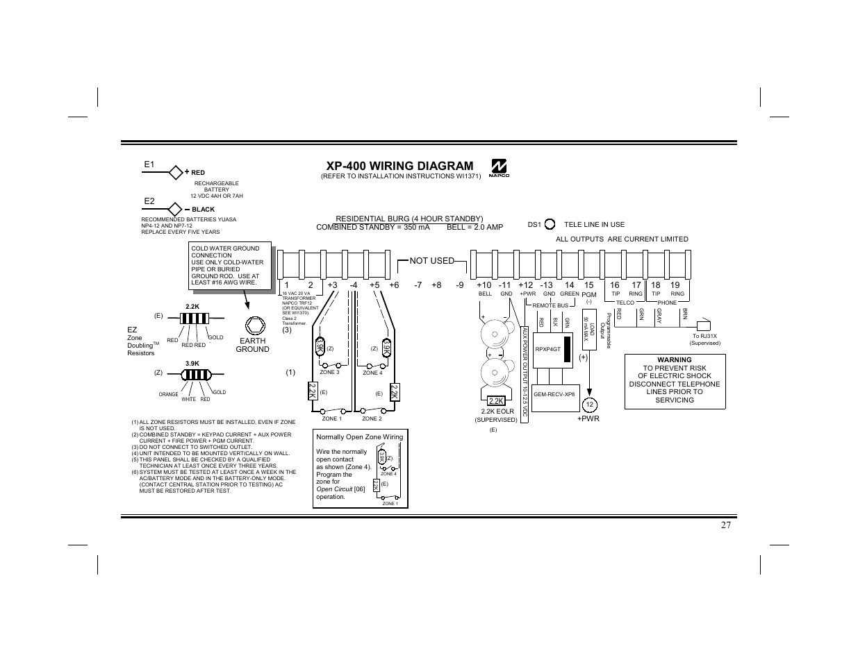napco security technologies xp 400 page27 napco wiring diagram wiring diagrams napco 801 installation manual at bakdesigns.co