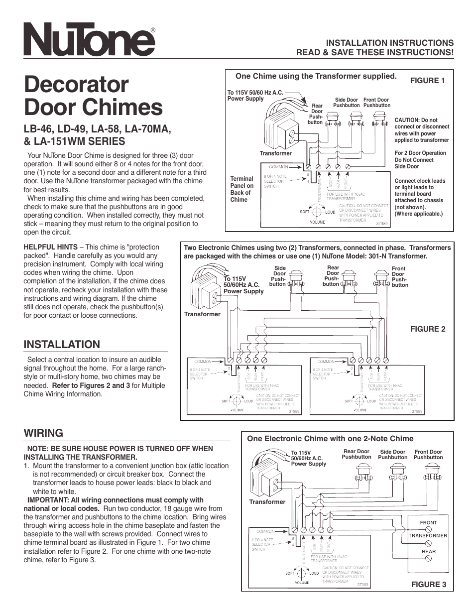nutone decorator door chimes la-58 user manual | 2 pages ... nutone door bell wiring diagrams #10