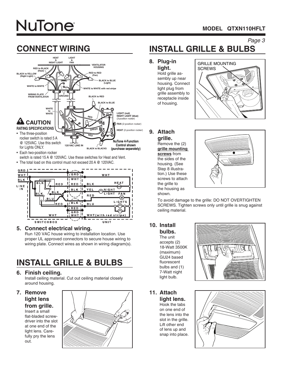 Install Grille Bulbs Connect Wiring Page Wires Model Qtxn110hflt 8 Plug In Light Nutone User Manual 3