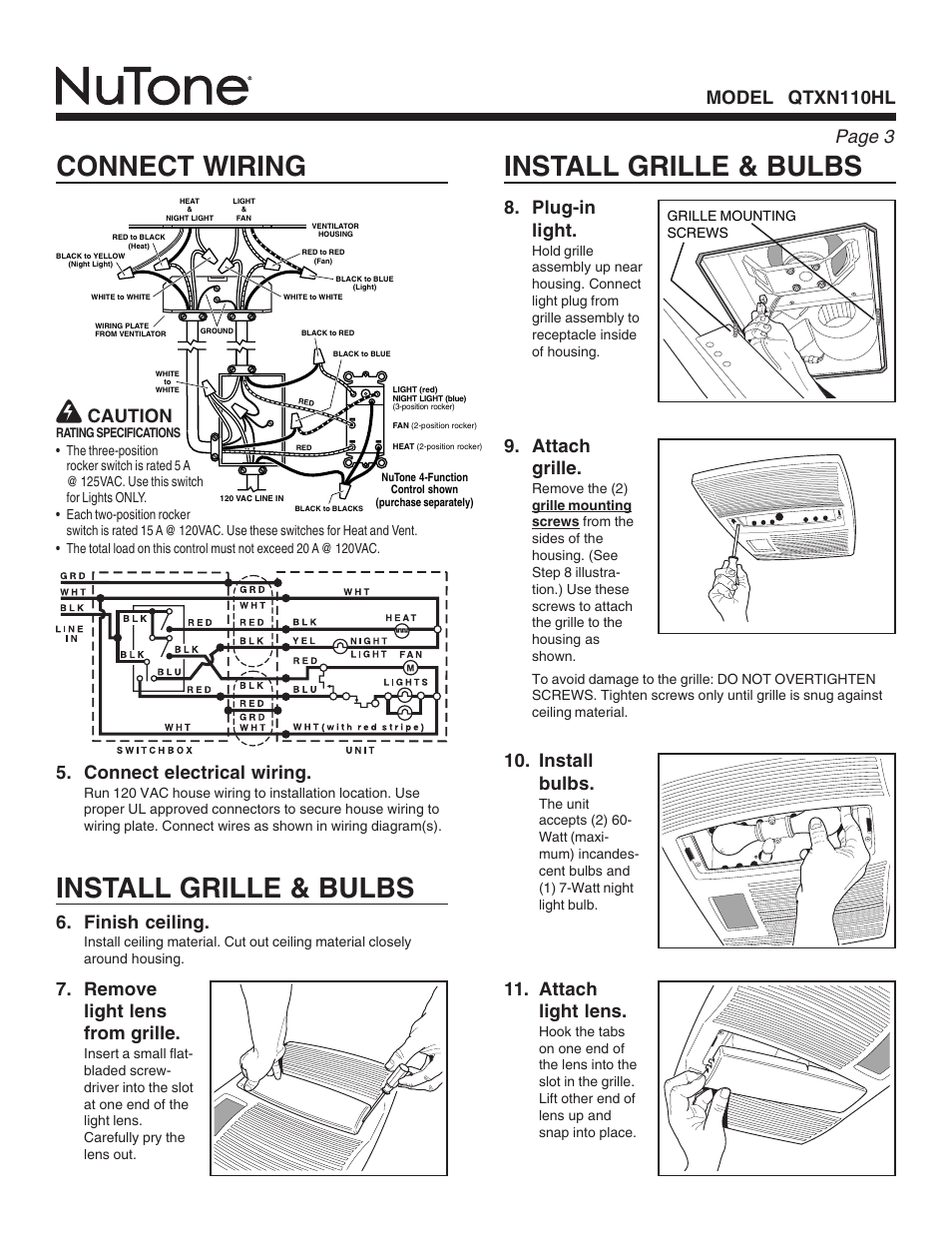 Install Grille Bulbs Connect Wiring Page Electrical Diagrams Residential Elevator 3 Nutone Qtxn110hl User Manual 8