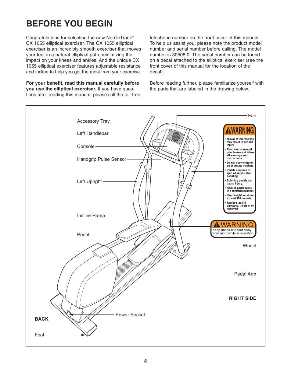 nordictrack cx 1055 manual