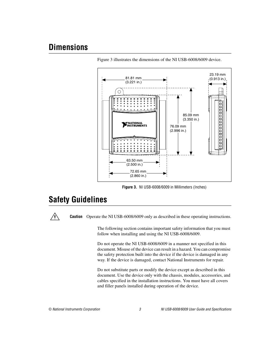 dimensions figure 3 ni usb 6008 6009 in millimeters inches rh manualsdir com Rollei 6008 Review ni usb 6008 user guide