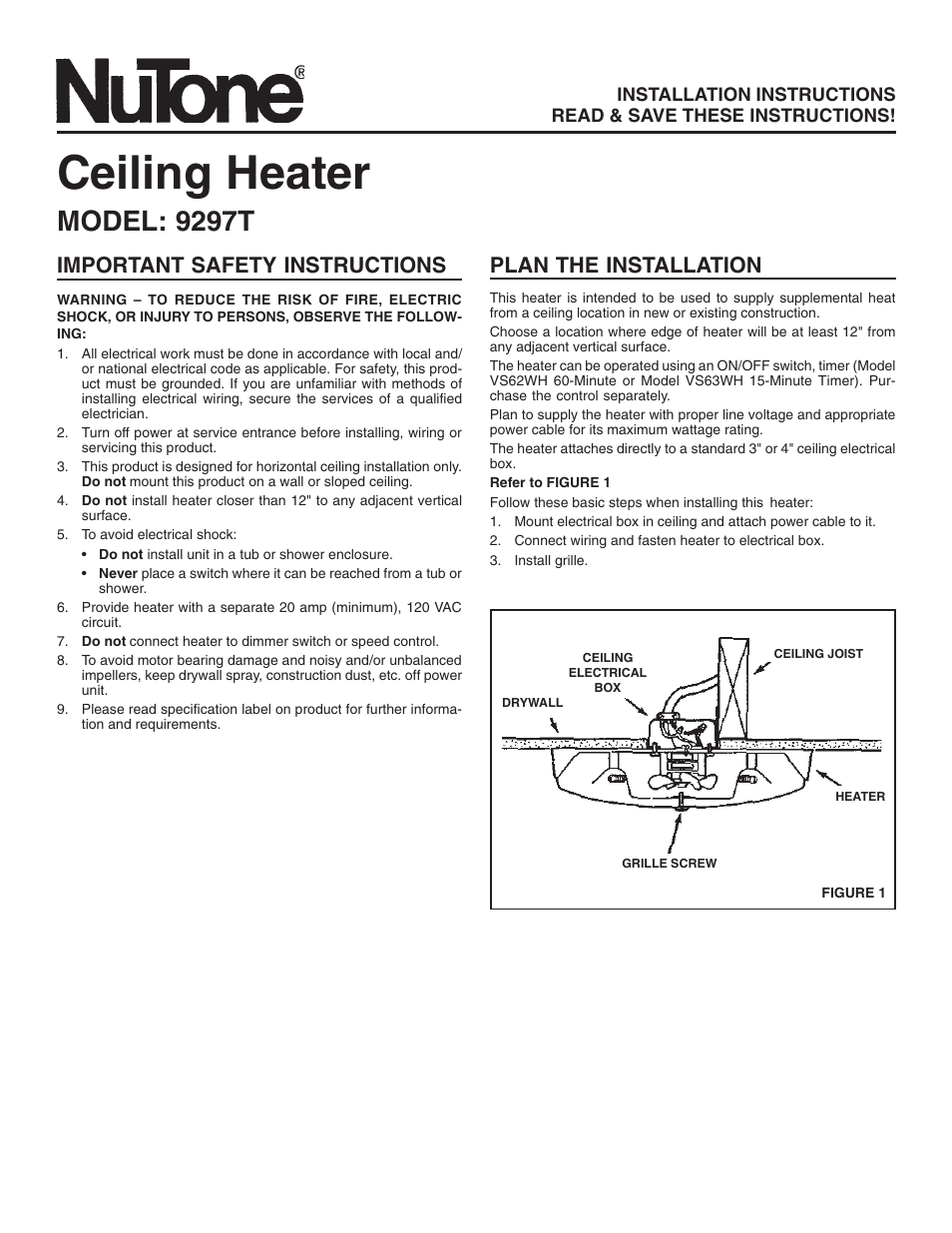 Nutone 9297t User Manual 8 Pages Ceiling Heater Wiring Diagram