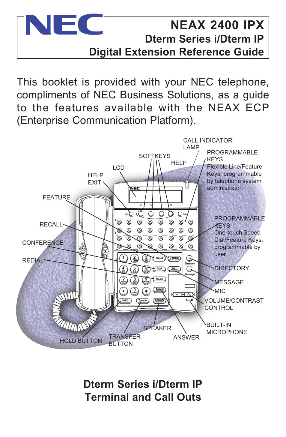 nec neax 2400 ipx user manual 20 pages rh manualsdir com Manual NEC 2400 IPX NEAX 2400 IPX PDF