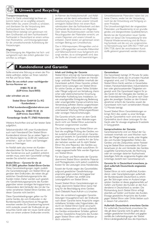 umwelt und recycling kundendienst und garantie stiebel eltron shz 100 lcd user manual page. Black Bedroom Furniture Sets. Home Design Ideas