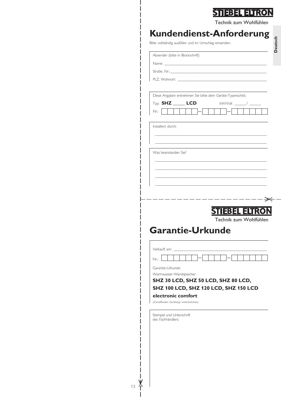 garantie urkunde kundendienst anforderung stiebel eltron shz 100 lcd user manual page 13 44. Black Bedroom Furniture Sets. Home Design Ideas