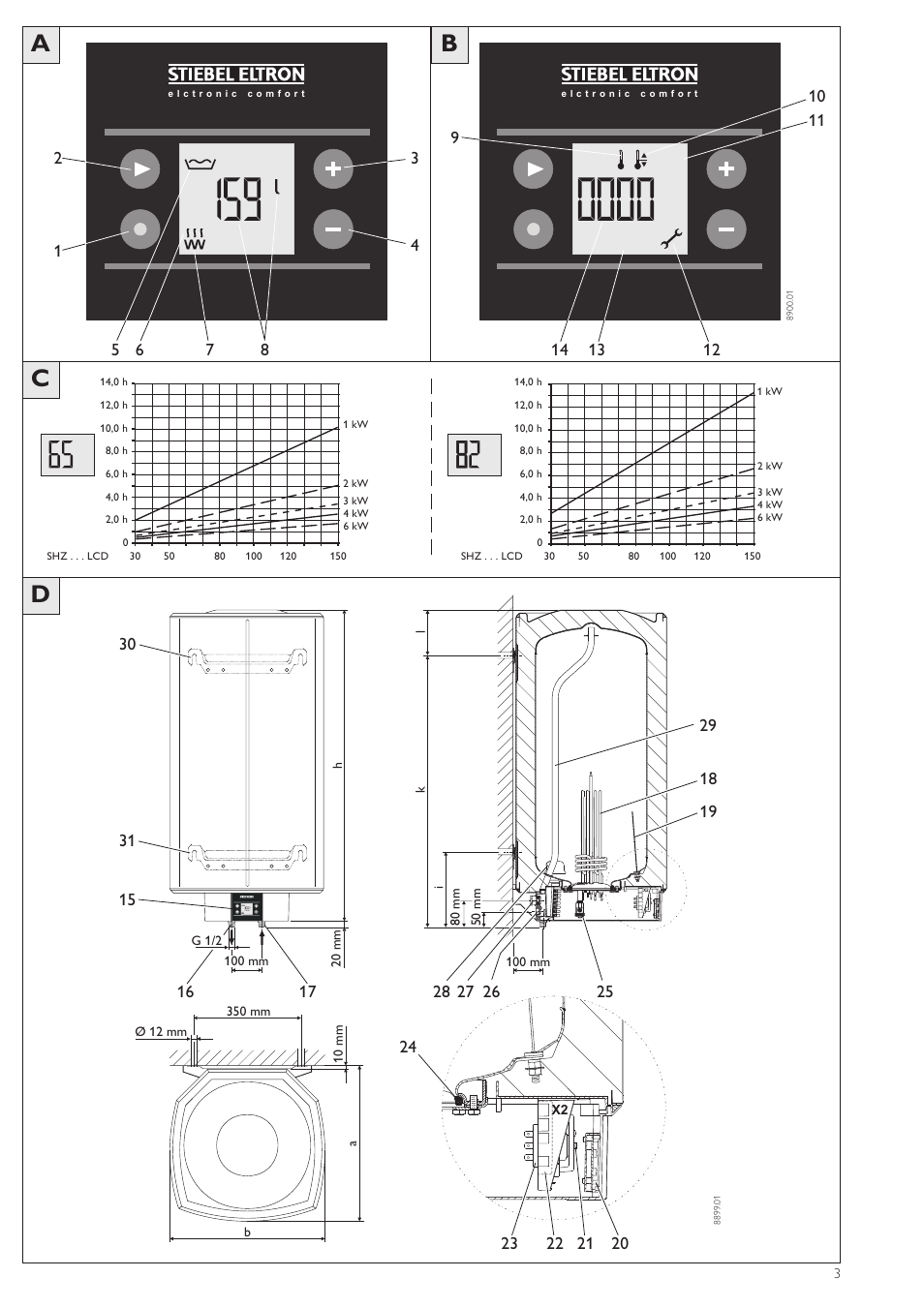stiebel eltron shz 100 lcd user manual page 3 44 also for shz 30 lcd shz 50 lcd shz 80. Black Bedroom Furniture Sets. Home Design Ideas