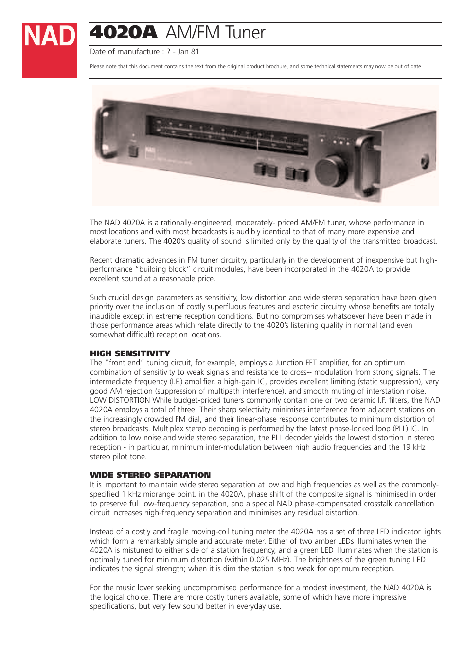 NAD 4020A User Manual | 2 pages