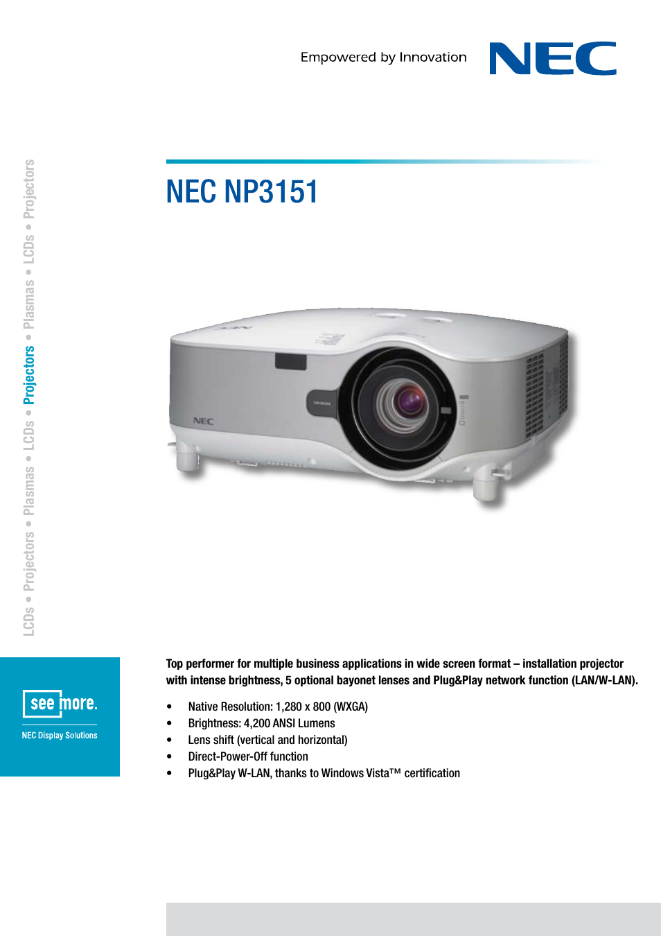 Nec Np3151 User Manual 2 Pages