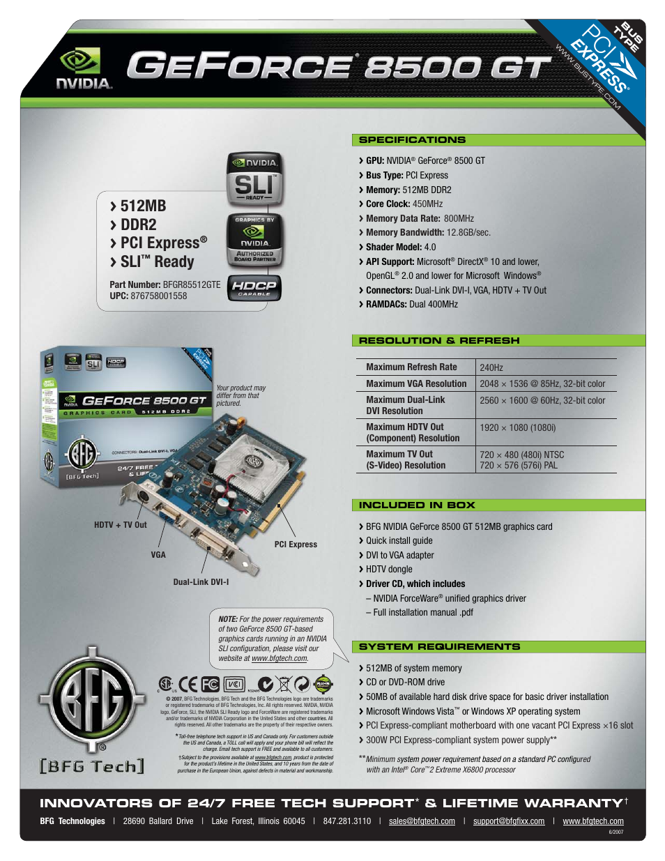 Nvidia GeForce 8500 GT User Manual | 1 page
