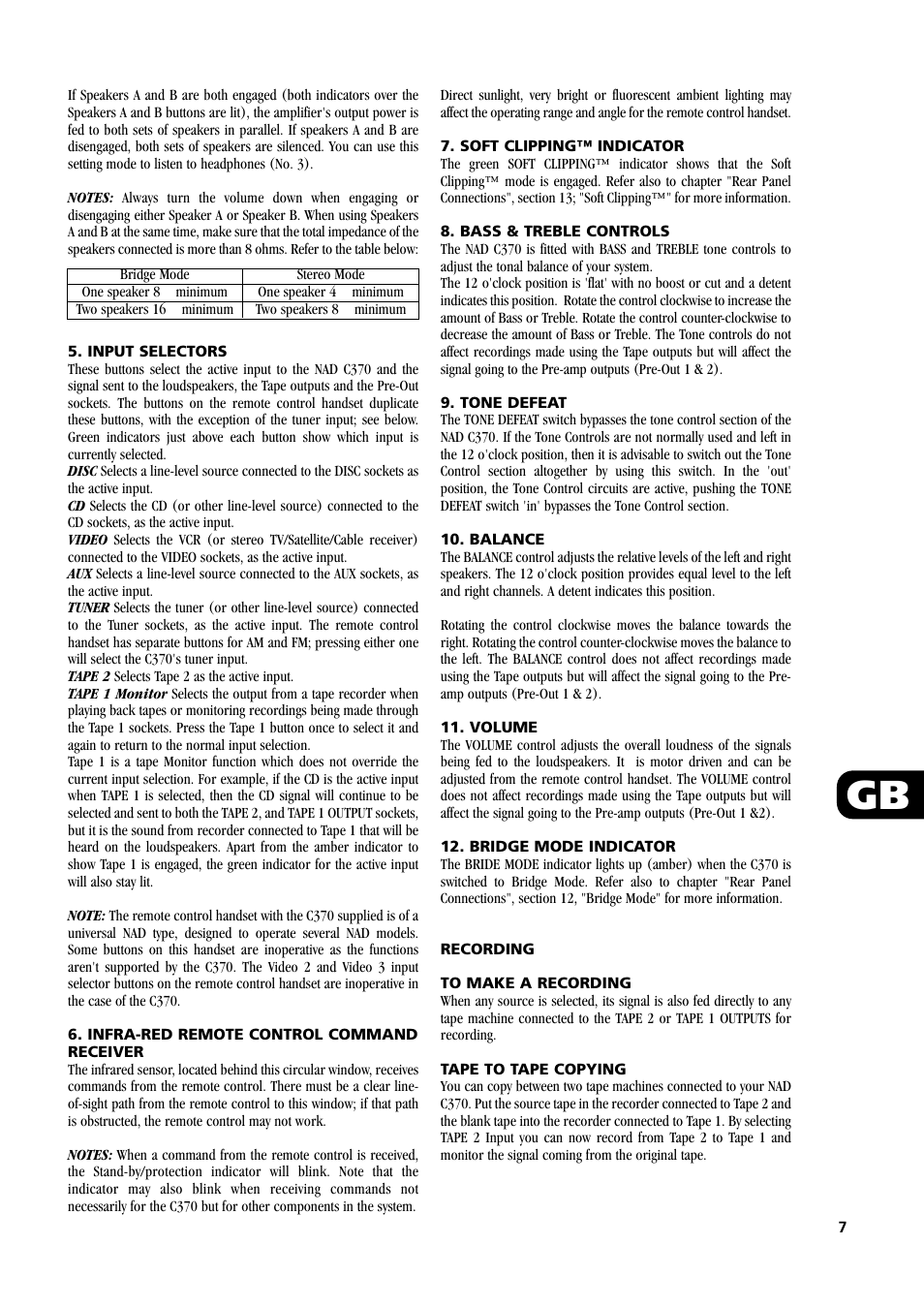 NAD C370 User Manual   Page 7 / 56