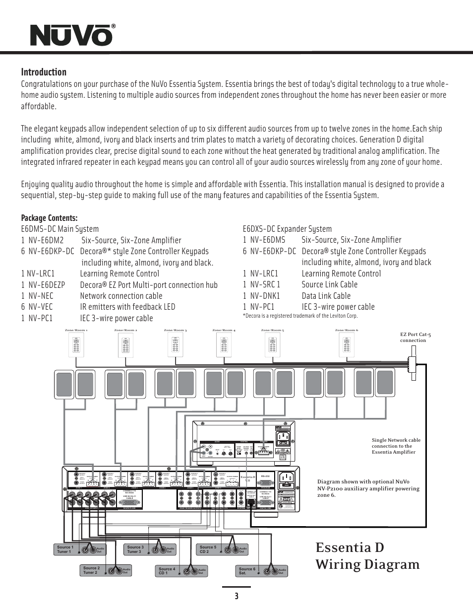 Essentia D Wiring Diagram Introduction 30 Volts Ac Or Dc On Off Whole Home Audio Switch Nuvo Nv E6dms User Manual Page 4 29