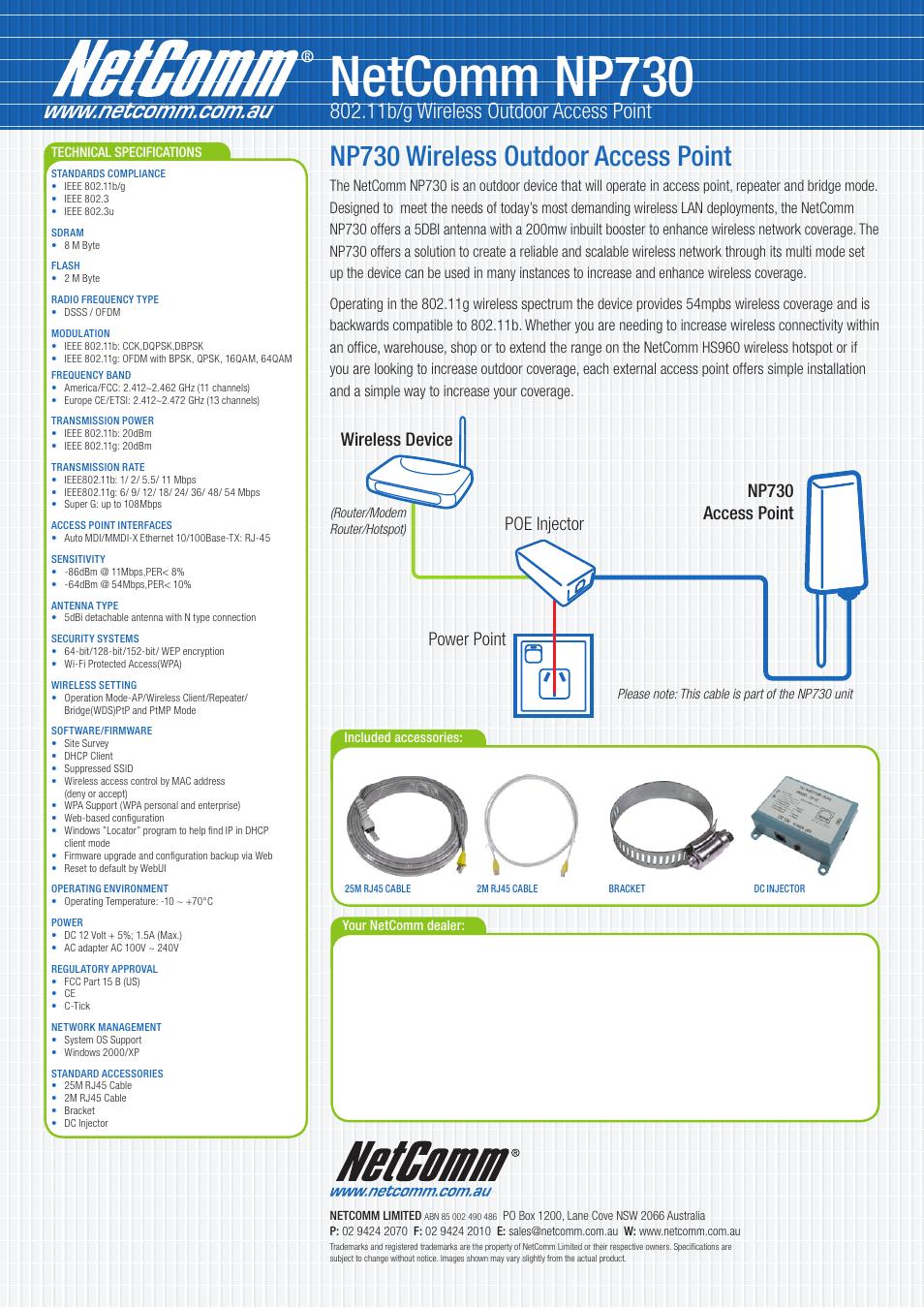 Netcomm np730, Np730 wireless outdoor access point, 11b/g wireless