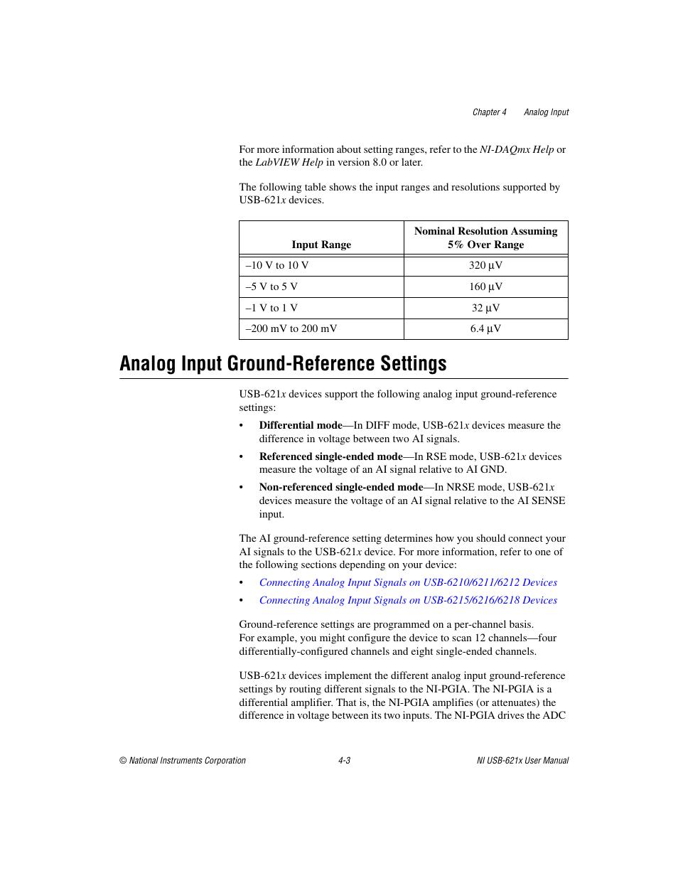 analog input ground reference settings analog input ground rh manualsdir com National Instrument of the USA National Instruments Training