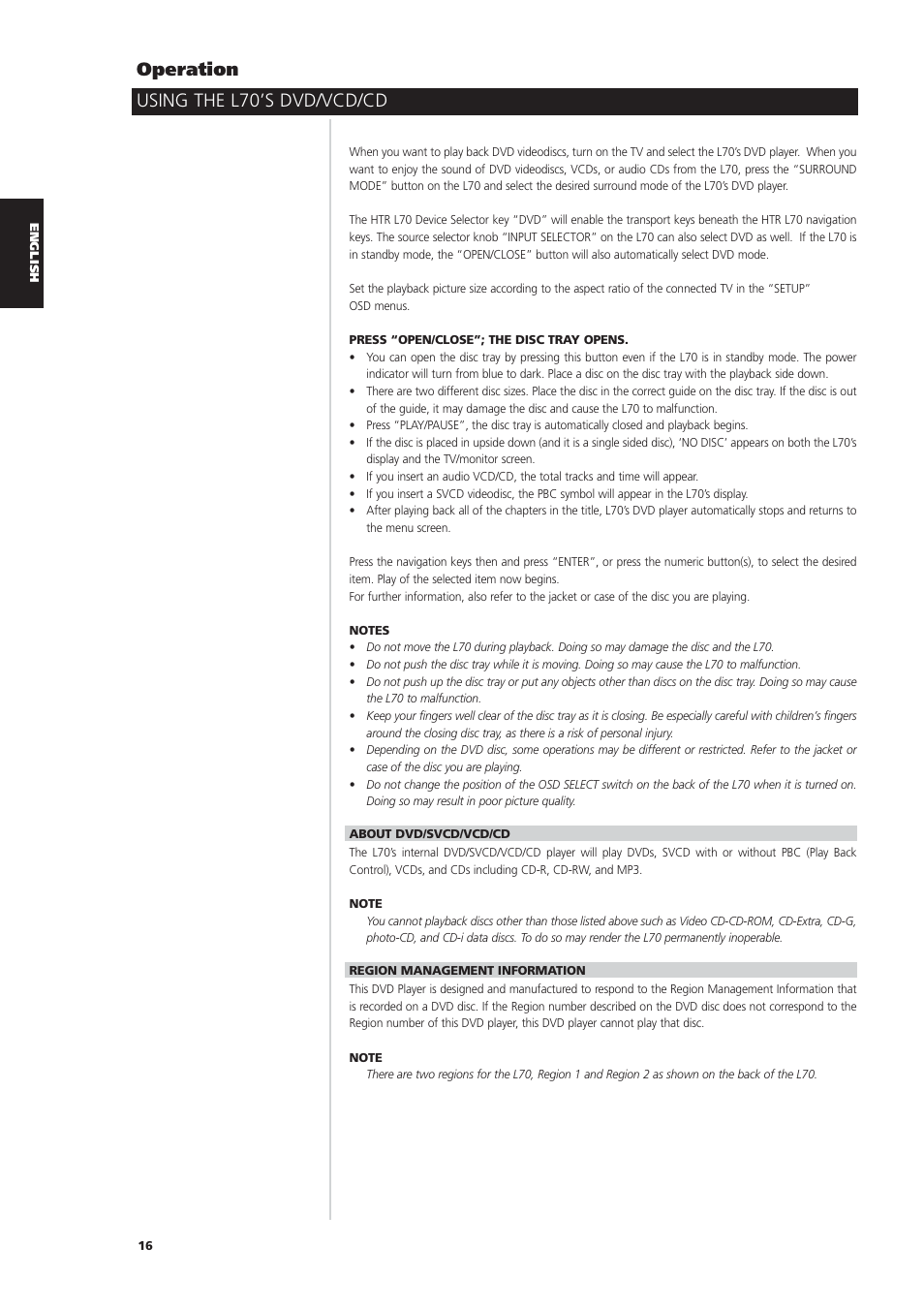 Using the l70's dvd/vcd/cd operation | NAD L70 User Manual | Page 16