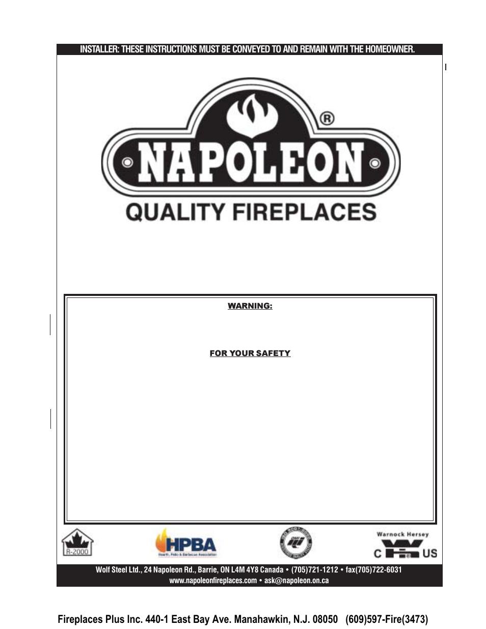 Napoleon Fireplaces Epi 1401 User Manual
