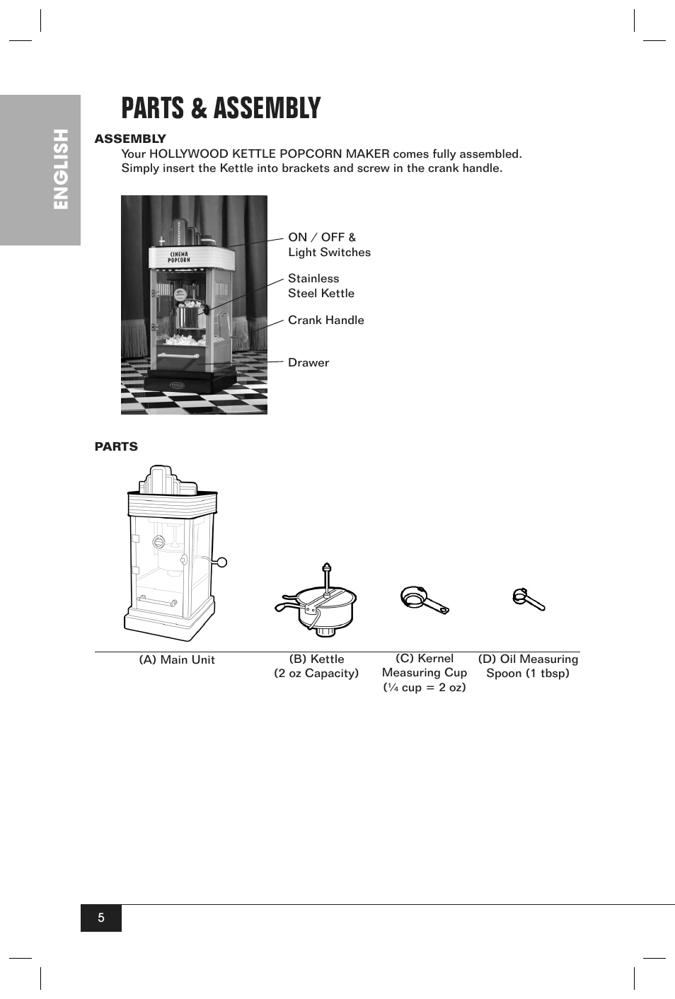 parts & assembly, english | nostalgia electrics hkp200 user manual | page 7  / 14