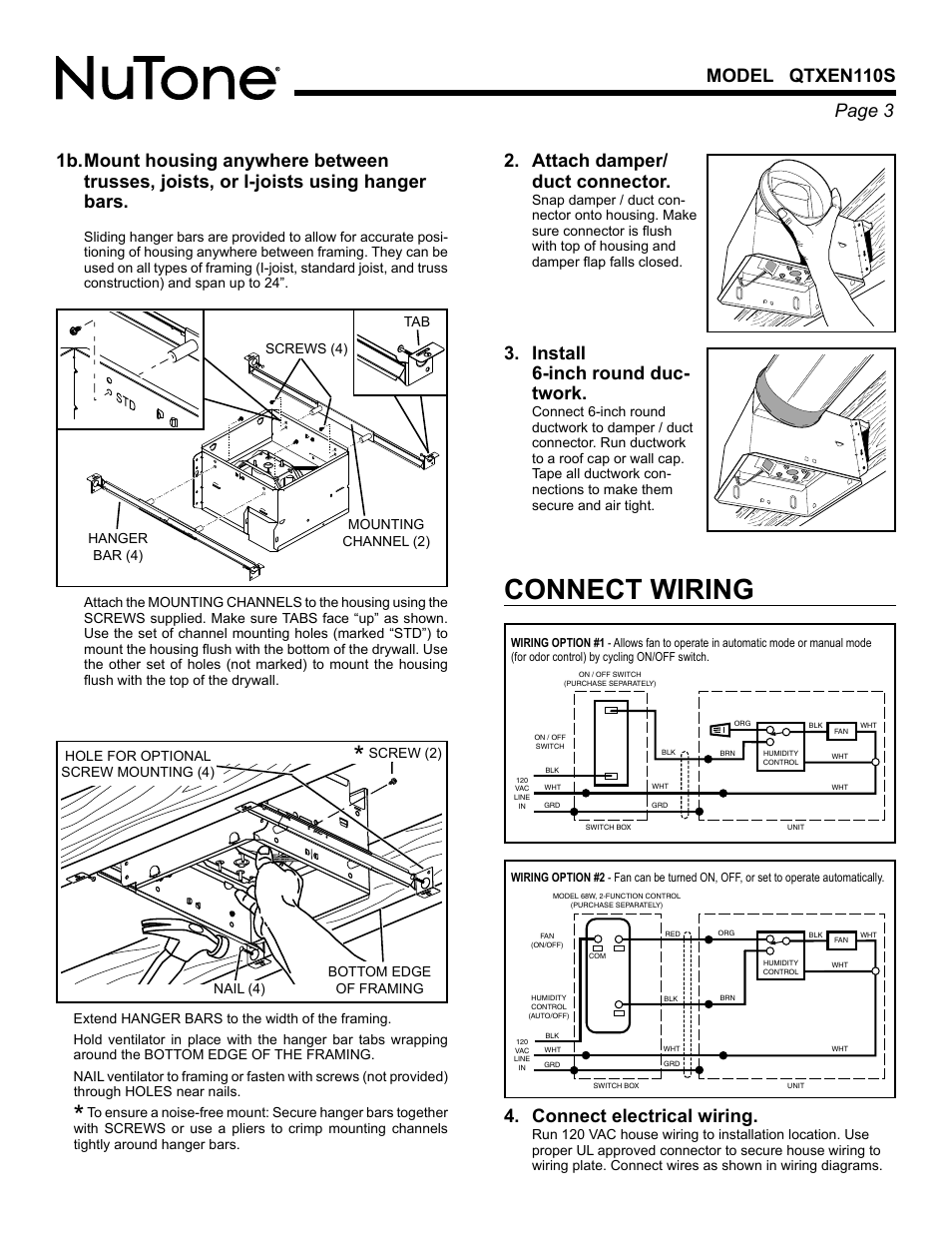 Wiring Diagram For Nutone Qtxen110s - Enthusiast Wiring Diagrams •