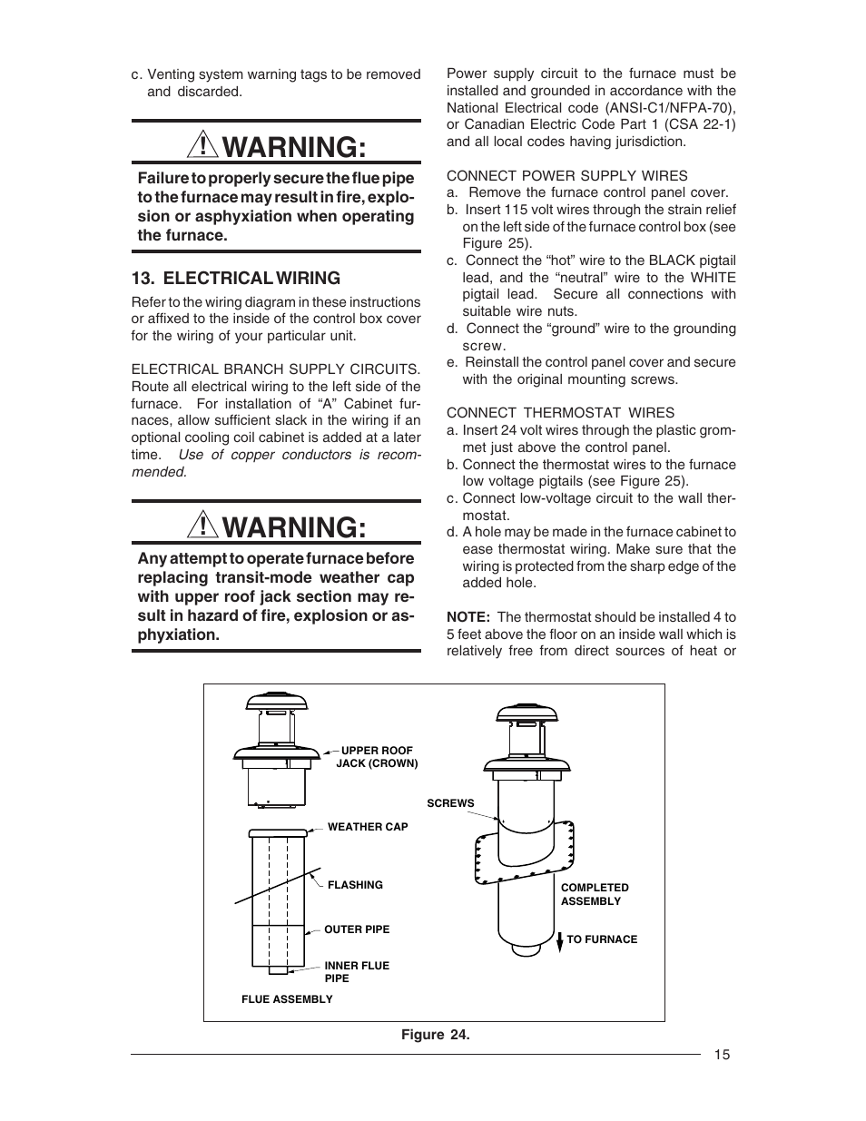 Warning Nordyne M1m User Manual Page 15 40 24 Volt Coil Wiring Diagram