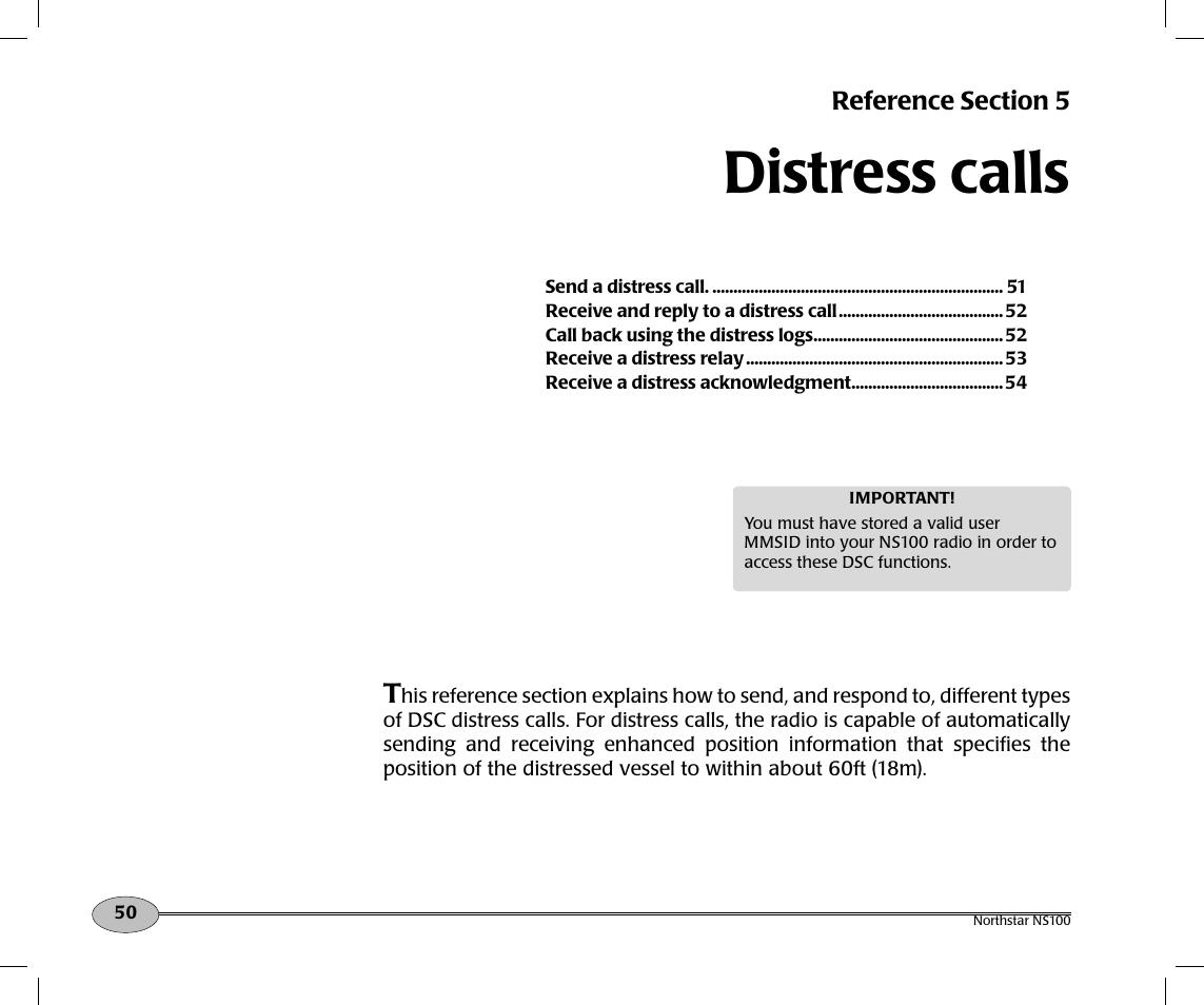 distress calls northstar navigation northstar ns100 user manual rh manualsdir com North Star VHF NS100 Speaker North Star 8000I Parts